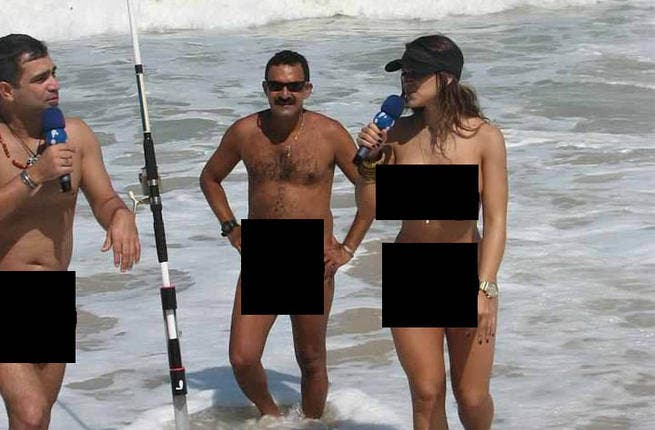 Lebanese TV star Ahood shocked viewers when she followed a business big wig from Lebanon all the way to France for an interview. Willing to get to the naked truth, Ahood agreed to ask her questions on a nudist beach and, not wanting to offend the 'locals', stripped off for the occasion. After the  'business meeting', Ahood disappeared.