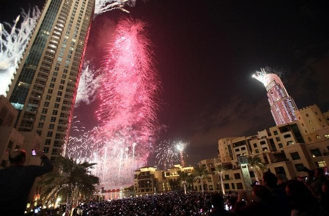 Ain't no party like a UAE party! Dazzling pyrotechnics lit up the skyline of Dubai, with an estimated 2 billion people watching  the fireworks display at Burj Khalifa remotely. A table in a tower restaurant cost up to $4,300 per person on the night. 1.7 million people are thought to have attended, out-partying festivities in Times Square.