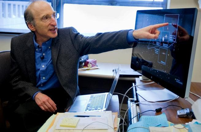 """Cool Laureate: American Saul Perlmutter, one of three to earn the Physics Prize, with co-patriot Adam Reiss, & Australian Brian Schmidt, was commended for discovering """"the accelerated expansion of the universe through observations of distant supernovae"""