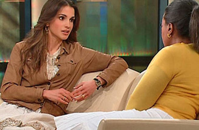 Queen Rania, 'the world's youngest living Queen': Oprah asks about the perks of being Queen- isn't it fun? Rania impresses Oprah on the hijaab: