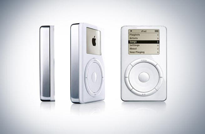 The original iPod, 2001: This first digital music player-  the forerunner to many copycats, as the MP3 players. 