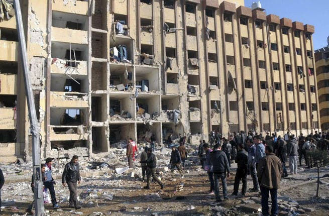 """In January, UN Secretary-General Ban Ki-Moon condemned a """"heinous"""" attack on Syria's Aleppo University that reportedly killed at least 87 people, many of them students attending exams. Mr Ban warned that the deliberate targeting of civilians is a war crime. The Syrian government and opposition forces blamed each other for the twin blasts."""