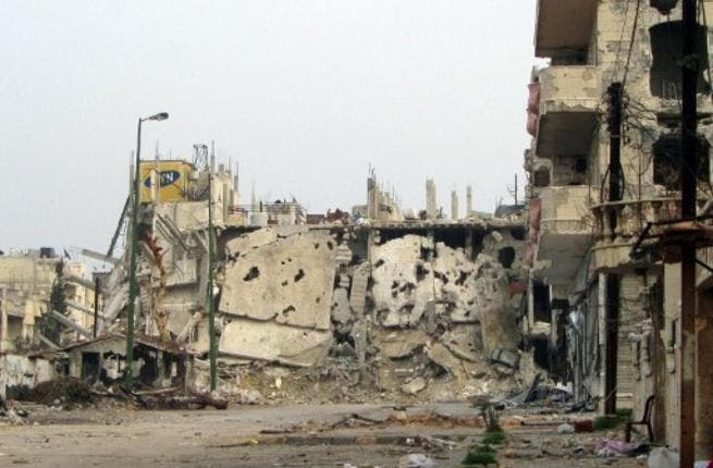 The regime stamp of destruction is being described as the 'scorched earth policy'. This military strategy famously appropriated by the Russians, involved a razing to the ground of enemy land, village by village. In the Homs case, infrastructure is flattened, mines planted, & civilians are being scared away. Homs is turning into a ghost town.