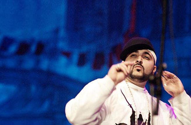 """Bashing the haters! Eslam Jawaad - born Wissam Khodur - made his debut political grand-slam the year of the rebellion in 2011, releasing """"Dudd al Nizam"""" (""""Against the System""""), coming down on the  anti-Assad rebels. Musically, he's been largely silent since, though prolific on the Twitter-scape."""