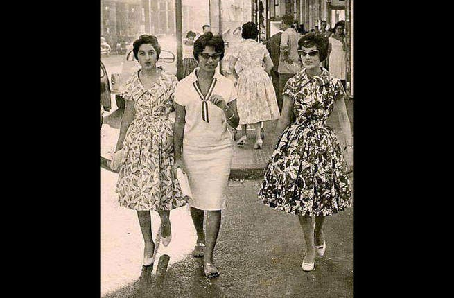 Egypt in its element- Whereas today, the overwhelming majority of women in Egypt wear a hijab to cover their hair and those who don't commonly face harassment from men, these Cairo chicks had no such worries in the 1960s as they sported the latest fashions with an Arab spring in their steps!