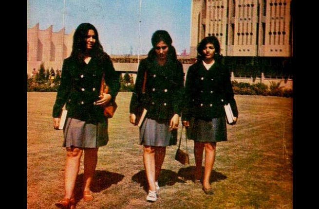 School girls in Arabia: Iraqi students from the'70s during Iraq's educational 'Golden Age' in which school enrollment reached 100% and illiteracy dropped, shows schoolgirls sporting skirts above the knee. Iraq is now attempting an education overhaul following the US pullout, but female students will most likely be covering a bit more skin.