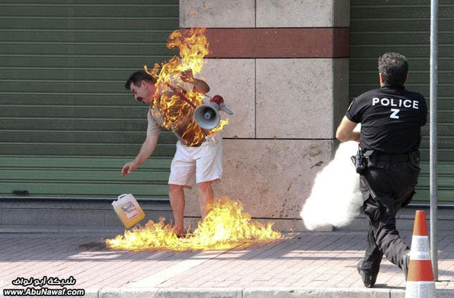 This fortuitously hapless Greek tried self-immolation multiple times before being rescued by  bystanders who unfortunately (or fortunately) had seen this kind of thing before in a square in Tunisia. Despair from bankruptcy caused this Greek debt victim to give up in public frustration. What worked for Arabia does not necessarily cut it in Europe.