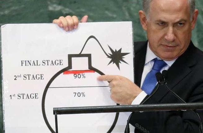 Bombastic Bibi? 2012 UN General Assembly and THAT cartoon bomb - Israel's no fan of Iran's nuclear programme, but Bibi did his credibility no favour when he wielded a cartoon bomb of Iran's nukes at the UN assembly. Rudimentary and ridiculous, he undermined Israel's concerns in one swift blow.