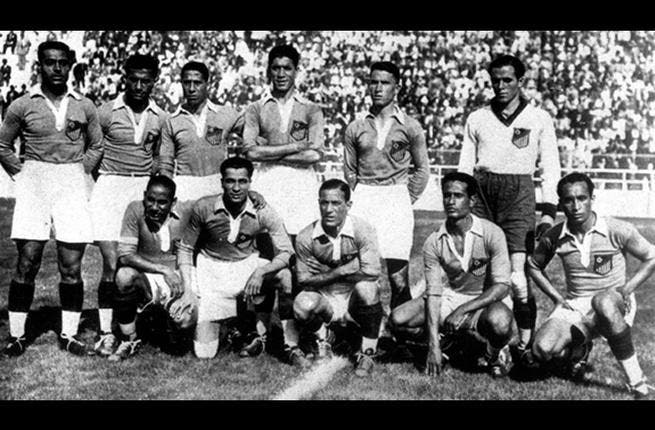 Italy 1934: The 1st edition (following the launch in 1930) of the cup that required teams to qualify. Egypt qualified after beating Mandatory Palestine, a team of 9 Englishmen, 6 Jews & 1 Arab. Egypt lost 4-2 to Hungary in a game marred by poor refereeing. Goalkeeper Mustafa Mansou – the Flying Egyptian – impressed on the world stage.