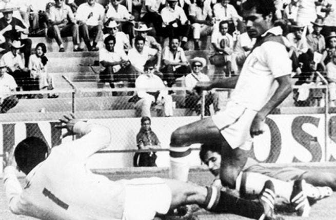 Mexico 1970: In the 1st tournament to be broadcast across the world, Morocco's Houmane Jarir stunned West Germany by scoring the opening goal in the 21st minute of their first game. In a spirited display, Morocco went down 2-1 to the Deutsch. They lost 3-0 to Peru and drew 1-1 with Bulgaria and left their mark on the tournament.