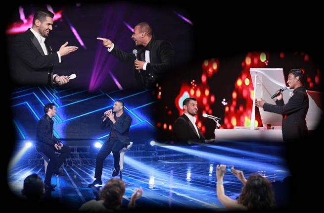 Each contestant performed one song along with their team manager, then rang out two solo acts. Wael Kfoury got to belt it with his man Adham Al-Nabulsi, while Hussein Al Jassmi got double the stage fun singing once with Ibrahim Abdul-Athem and another time with Mohammad Rifi.