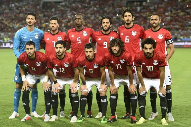Egypt's players pose for a photograph prior to the 2019 Africa Cup of Nations qualifier football match between Egypt and Niger on September 8, 2018 at the Borg el-Arab stadium near the Mediterranean city of Alexandria. Khaled DESOUKI / AFP