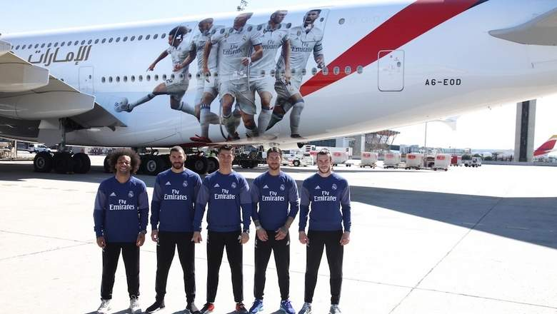 Emirates unveil new real madrid a380 decal al bawaba - Emirates airlines paris office ...