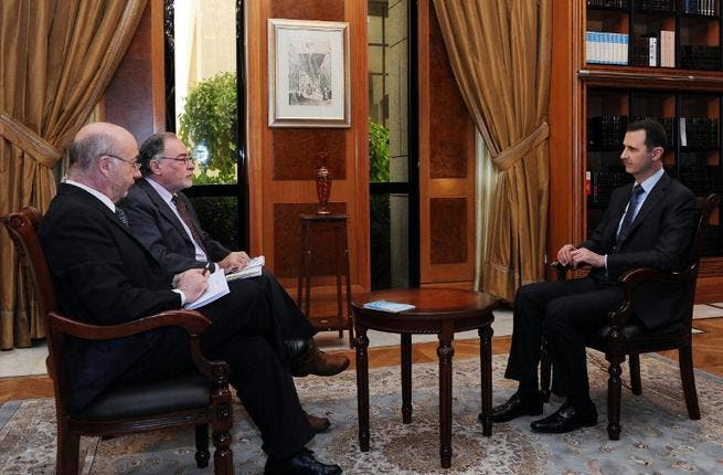 Syrian President Bashar al-Assad gives an interview to Argentinian newspaper Clarin(AFP/SANA)