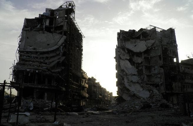 Parts of Homs city have been destroyed since the conflict began (AFP/Shaam News)
