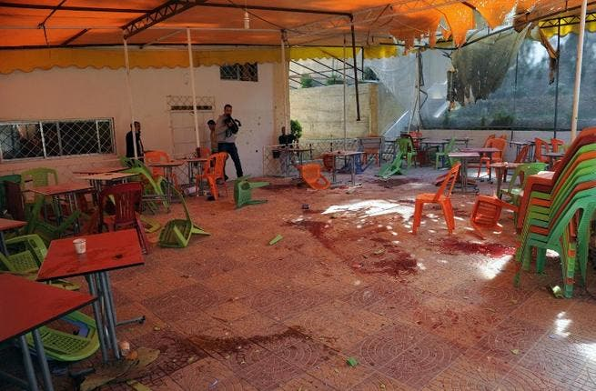 Damascus University cafeteria after an alleged mortar attack (AFP Photo SANA)