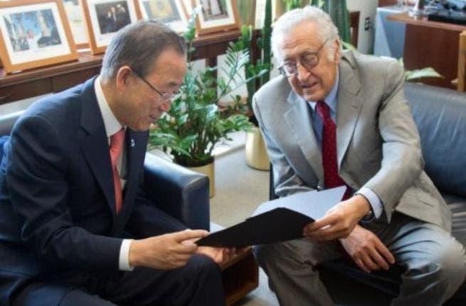 Lakhdar Brahimi meets UN secretary-general Ban Ki-moon ahead of a meeting with Bashar al-Assad. [AFP]