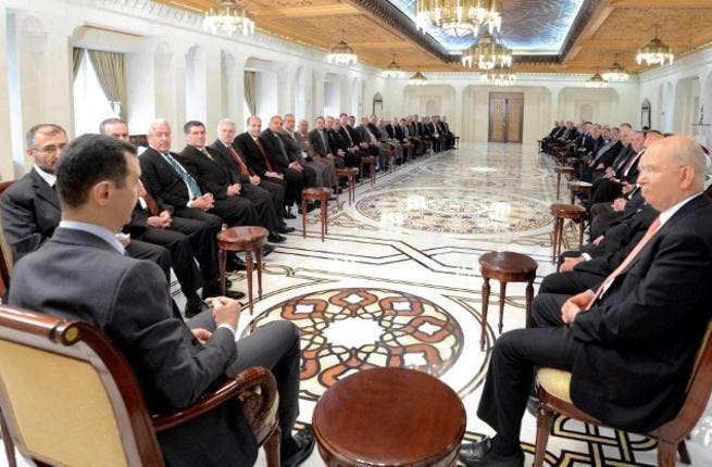 Assad meets the Lebanese delegation – the biggest to visit him since the start of the uprising. (AFP PHOTO / HO / SANA)