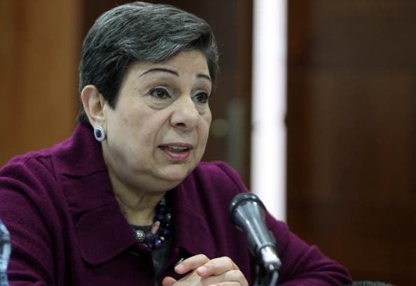 Palestine Liberation Organisation (PLO) executive committee member Hanan Ashrawi speaks during a press conference in the West Bank city of Ramallah. [Getty Images]