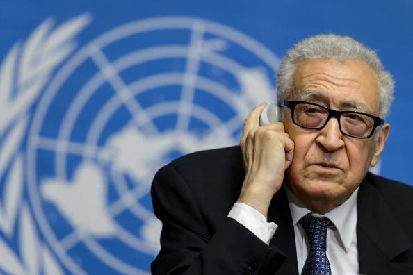 UN and Arab League mediator Lakhdar Brahimi attends a press conference on November 25, 2013 following a meeting of senior Russian and US diplomats to prepare the 'Geneva II' peace conference. [AFP]