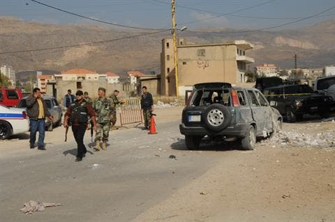 The picture shows a damaged vehicle after a bomb went off in the Western Bekaa Valley, Thursday, Oct. 31, 2013. [The Daily Star/Stringer]