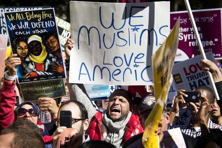 Anti-Muslim ban protests in Washington, October 2017 (Jim Watson/AFP)