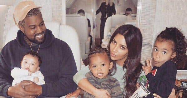 Kim Kardashian and Kanye West with children (Twitter)