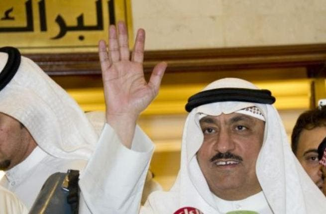 Opposition leader Musllam Al Barrak waves before speaking to the media (Archive photo)