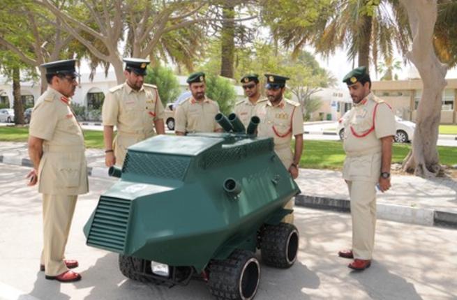 Dubai police view their new remote riot car (source: 7Days)
