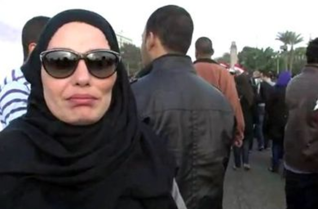 Sherihan wearing hijab in Tahrir Square