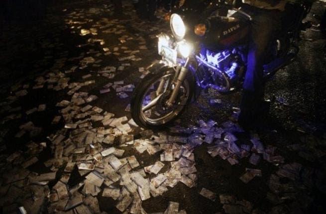 Thousands of leaflets strewn around Shafiq's headquarters last night