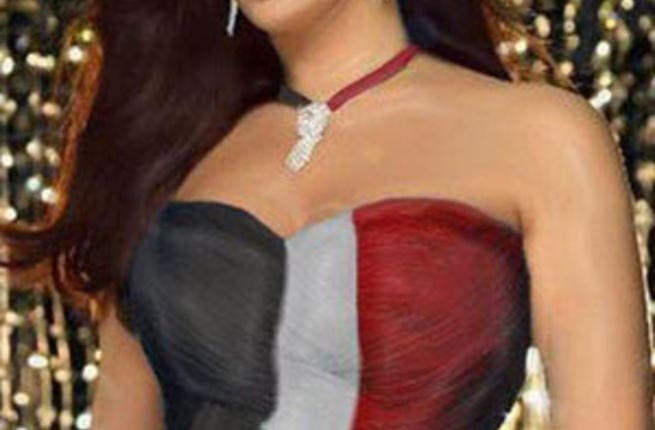 Elissa wearing a dress in the form of an Egyptian flag