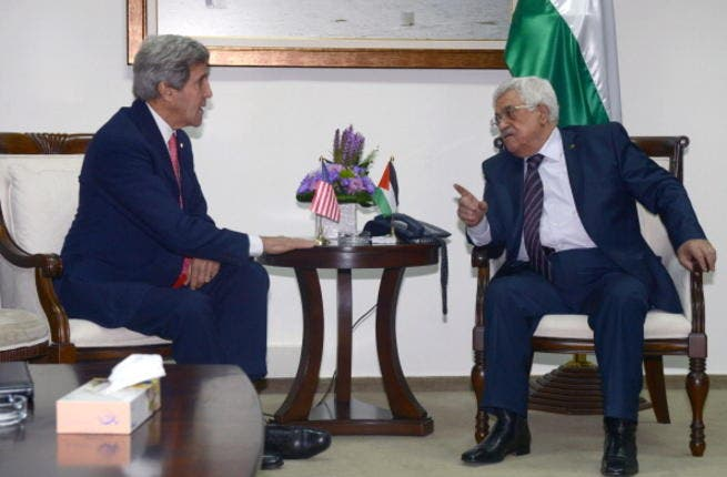 Palestinian President Mahmoud Abbas holds a meeting with US Secretary Of State John Kerry on December 5, 2013 in Jerusalem, Israel.