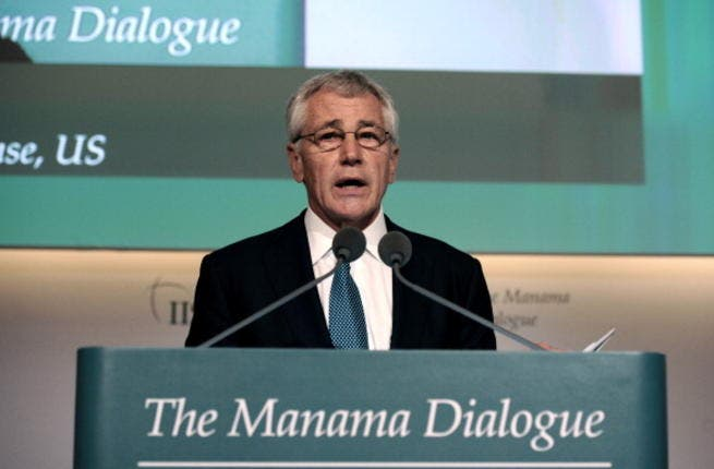 US Secretary of Defense Chuck Hagel speaks during the 9th International Institute for Strategic Studies (IISS) Regional Security Summit in the Bahraini capital Manama on December 7, 2013. [AFP]
