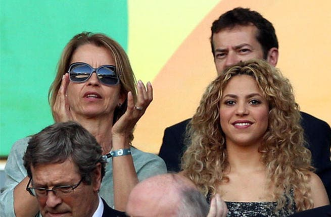 Singer Shakira looks on from the stands prior to the FIFA Confederations Cup Brazil 2013 Semi Final match between Spain and Italy at Castelao on June 27, 2013 in Fortaleza, Brazil. (Photo by Jasper Juinen/Getty Images)