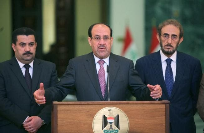 Iraqi Prime Minister Nuri al-Maliki speaks to the press (Ahmad Al-Rubaye / AFP)