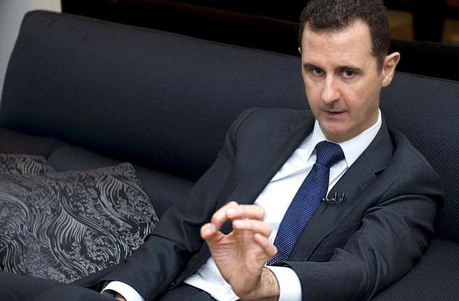 A handout picture released by the Syrian Arab News Agency (SANA) on June 17, 2013, shows Syrian President Bashar al-Assad speaking during an interview (AFP)