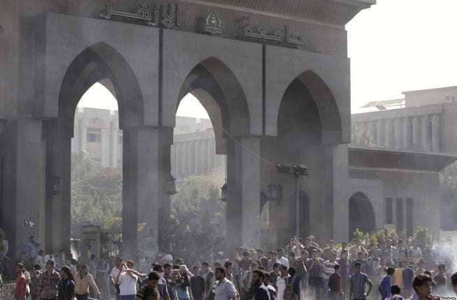 Al Azhar has been one of the key sites of pro-Morsi protests since the former Islamist president's oust in July (Courtesy of Voice of America)