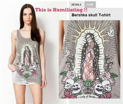 Bershka T-shirt graphic depicting Santa Muerte was confused with a picture of the Virgin Mary (Daily Star)