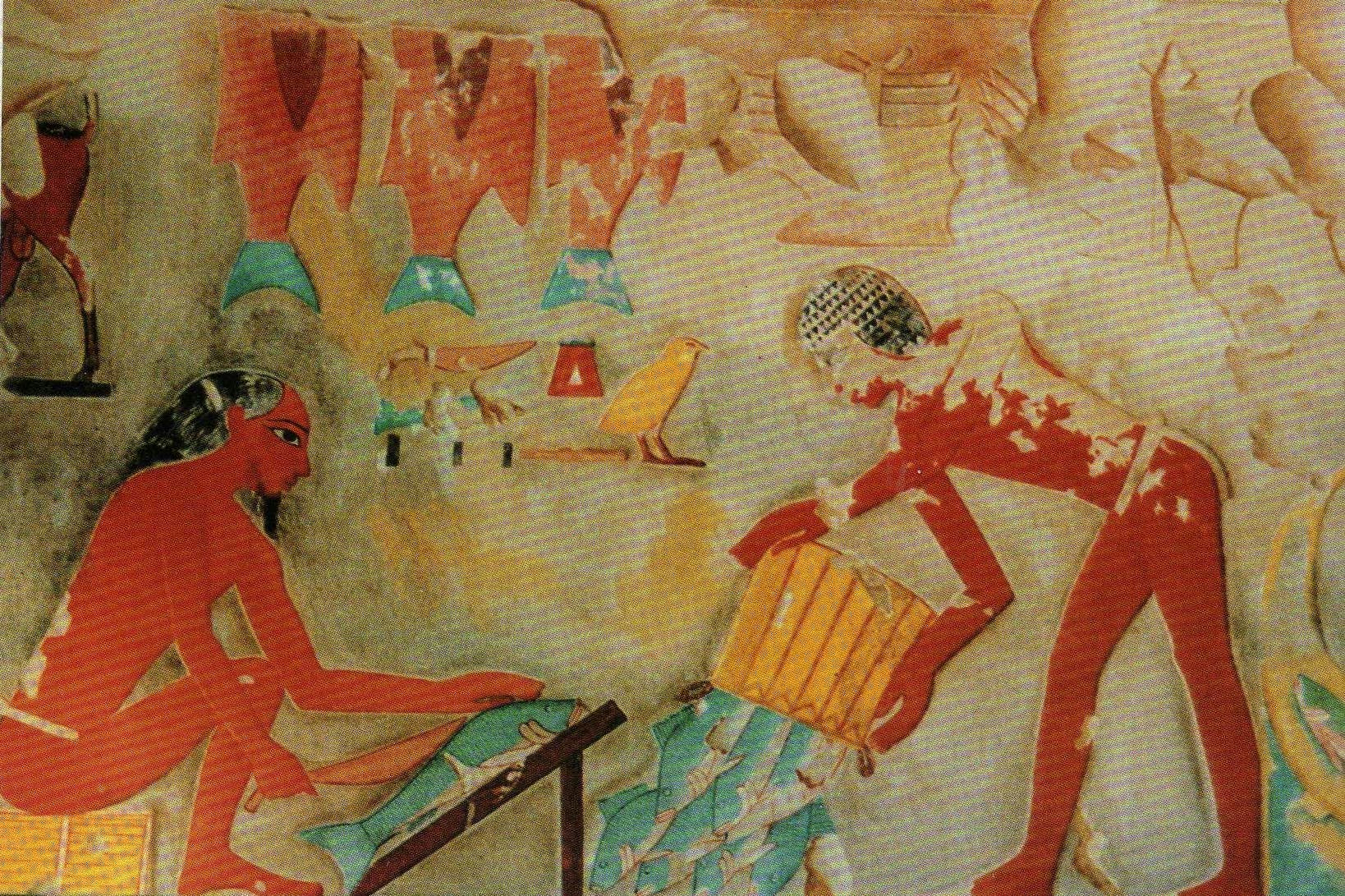 In an ancient Egyptian engraving, fisherman collect and skin the days' haul (Wikimedia Commons)