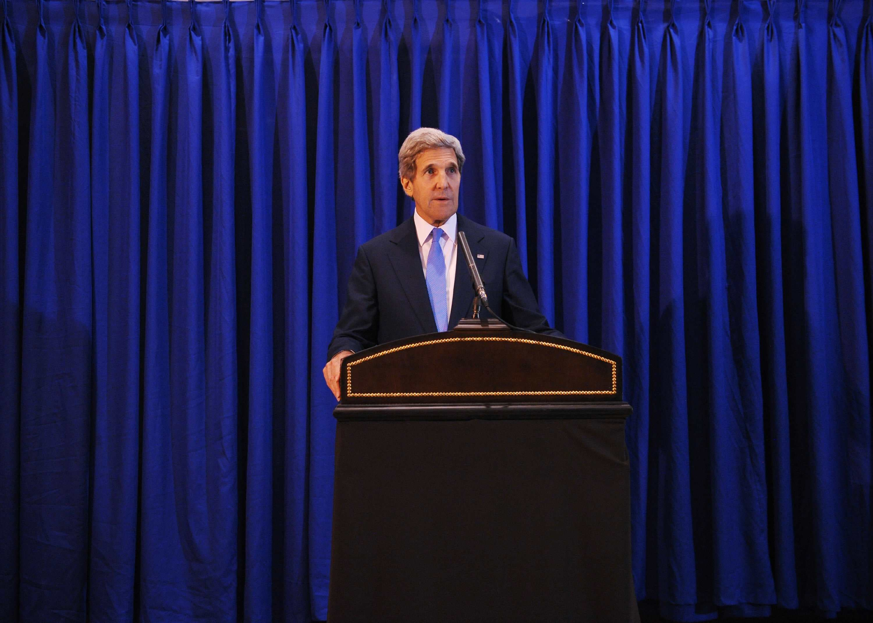 US Secretary of State John Kerry speaks during a press conference at Queen Alia International Airport on July 19, 2013 in the Jordanian capital Amman. (Source: AFP/POOL/MANDEL NGAN)