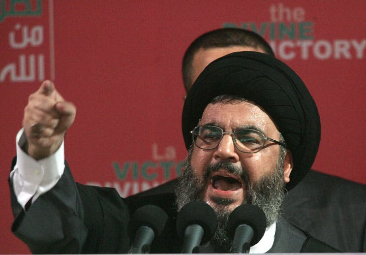 Hezbollah leader Sayyed Hasan Nasrallah promised support for Syria's President Assad in a televised address (archive picture)