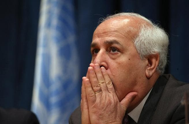 Ambassador Riyad Mansour, of the Permanent Observer Mission of Palestine to the United Nations, prepares to hold a press conference at the UN today in New York City. (AFP)