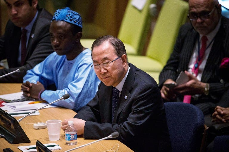UN leader Ban Ki-moon on July 12 2013, at UN headquarters New York (ANDREW BURTON / GETTY IMAGES NORTH AMERICA / AFP)
