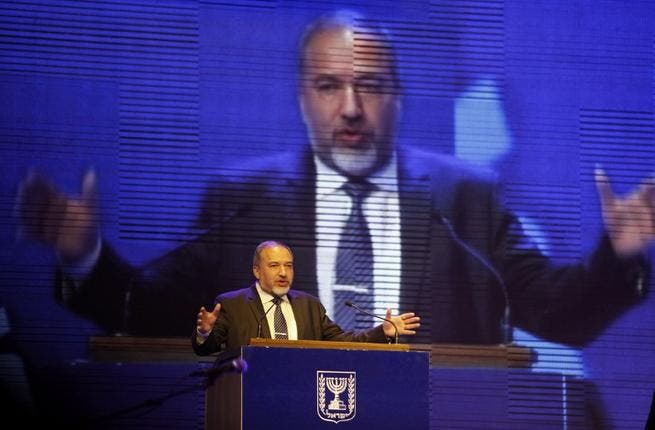 Israeli Foreign Minister Avigdor Lieberman gives a speech during the launch of the Likud-Beitenu elections campaign on December 25, 2012 in Jerusalem. (AFP PHOTO/GALI TIBBON)