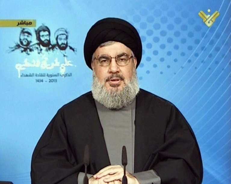 Lebanon's Hezbollah chief Hassan Nasrallah speaking during a televised address from an undisclosed location on February 16.