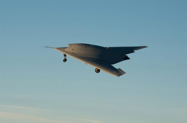 The prototype of a European combat drone, known as