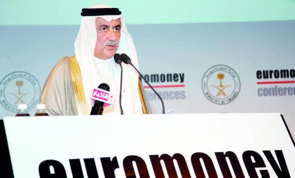 Finance Minister Ibrahim Al-Assaf addresses the 8th Euromoney Conference in Riyadh on Tuesday. (AN photo by Ahmed Fathy)