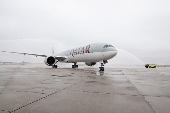 Qatar Airways' inaugural passenger flight to Chicago is welcomed by a traditional water salute at Chicago O'Hare Airport on April 10, 2013 in Chicago, Illinois.