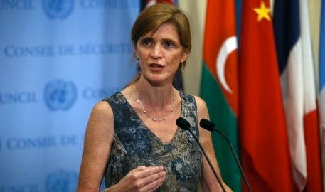 US Ambassador to the UN Samantha Power speaks to the media about the conclusion of the UN inspectors' report on chemical weapons use in Syria. The US, UK and France are preparing to push the UN to draw up a resolution over destroying Syria's chemical arsenal. (AFP)